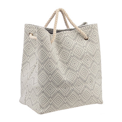 Gray Geometric Laundry Tote