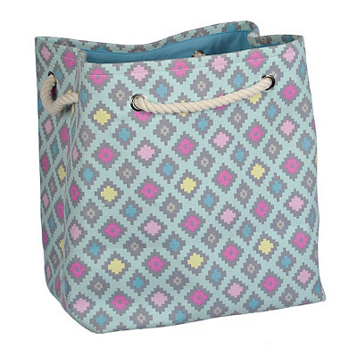 Turquoise Geometric Laundry Tote