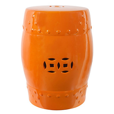 Orange Ceramic Garden Stool