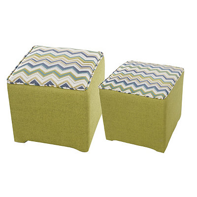 Spring Chevron Cube Stools, Set of 2