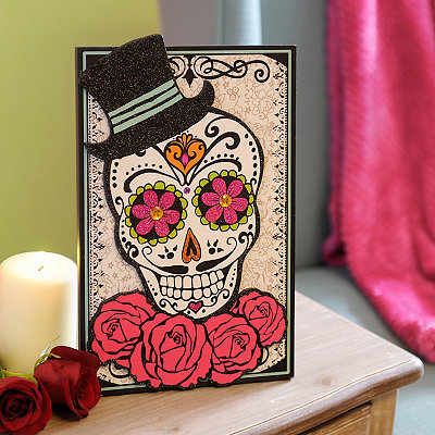 Day of the Dead Gentleman Sugar Skull Easel Plaque