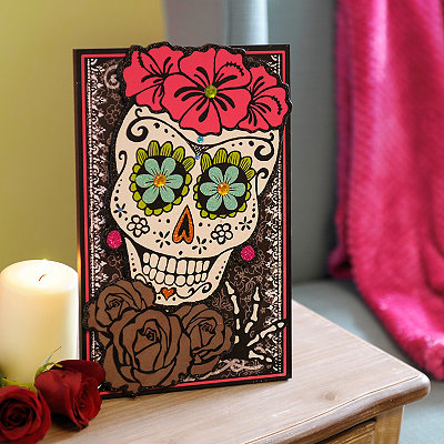 Day of the Dead Lady Sugar Skull Easel Plaque