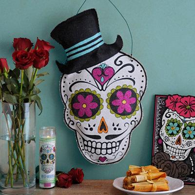Burlap Gentleman Sugar Skull Wall Hanger