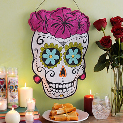 Burlap Lady Sugar Skull Wall Hanger