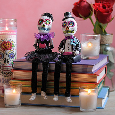 Day of the Dead Sugar Skull Sitters, Set of 2