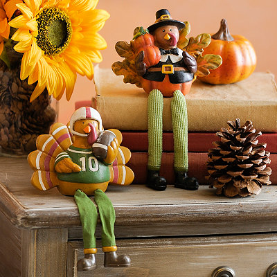 Thanksgiving Turkey Shelf Sitters, Set of 2