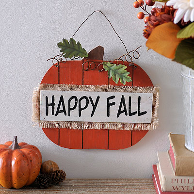 Happy Fall Hanging Pumpkin Sign