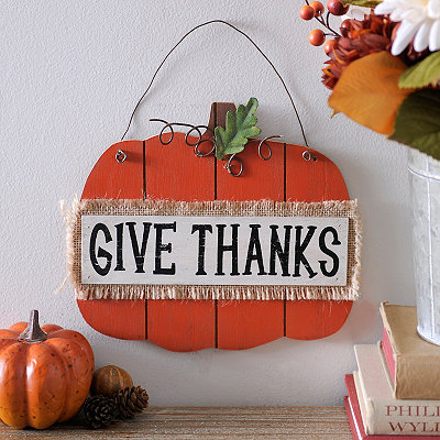 Give Thanks Hanging Pumpkin Sign