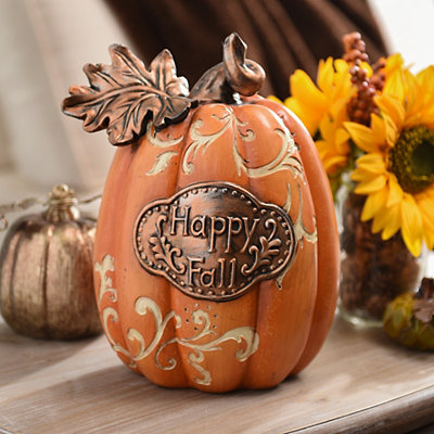 Happy Fall Bronze Accent Pumpkin