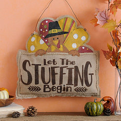 Let the Stuffing Begin Burlap Wall Hanger