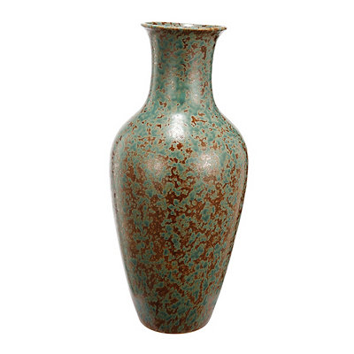 Speckled Green and Bronze Trumpet Vase