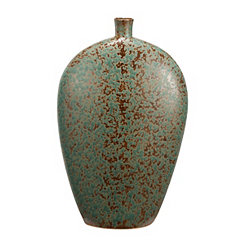 Speckled Green and Bronze Tapered Vase