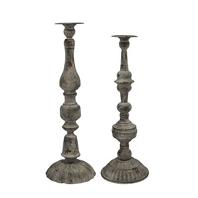 Gray Metal Floor Candle Holders, Set of 2