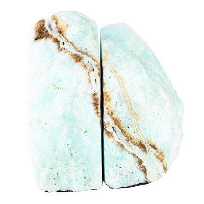 Light Blue Aragonite Bookends, Set of 2
