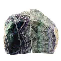 Green Flourite Bookends, Set of 2