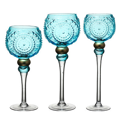 Blue Embossed Glass Charismas, Set of 3