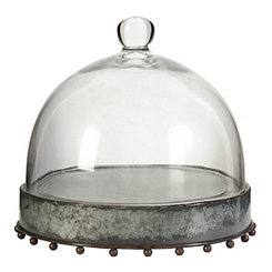 Galvanized Cake Plate with Glass Dome
