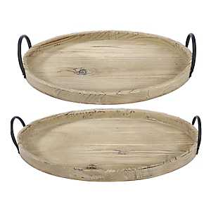 Natural Wood Trays with Black Handles, Set of 2