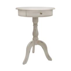 Antique White 1-Drawer Pedestal Table