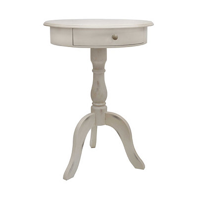 Antique White 1-Drawer Pedestal Table