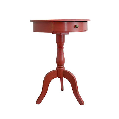 Spiced Coral 1-Drawer Pedestal Side Table