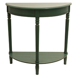 Antique Teal Half Moon Console Table