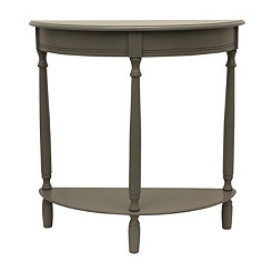 Antique Gray Half Moon Console Table
