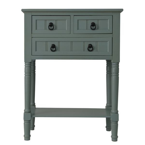 antique ice blue 3drawer console table
