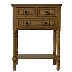 Honey Pine 3-Drawer Console Table