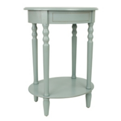 Antique Ice Blue Simplicity Oval Side Table