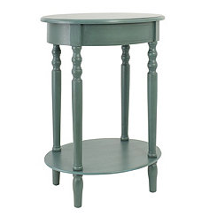Antique Teal Simplicity Oval Side Table