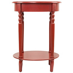 Antique Red Simplicity Oval Side Table