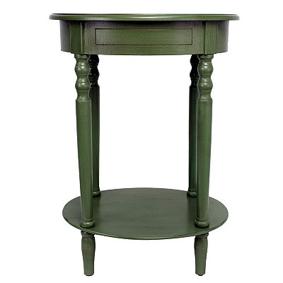 Antique Green Simplicity Oval Side Table