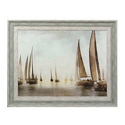 Golden Sails Blue Framed Art Print