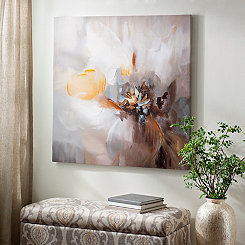 Greige Abstract Floral Canvas Art Print