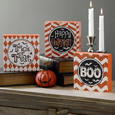 Halloween Patterned Word Blocks, Set of 3