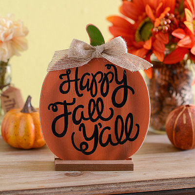 Happy Fall Y'all Pumpkin Standing Wooden Plaque