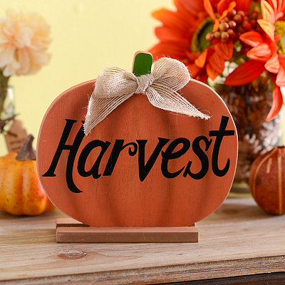 Harvest Pumpkin Standing Wooden Plaque