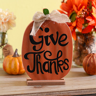 Give Thanks Pumpkin Standing Wooden Plaque