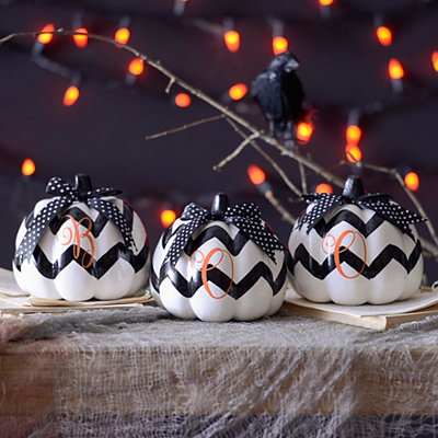 Boo Chevron Pumpkins, Set of 3