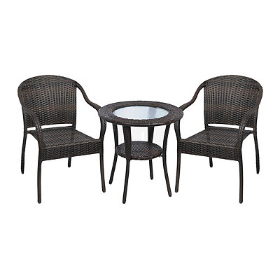 Dark Brown Wicker Bistro, Set of 3