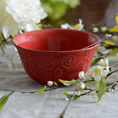 Red Fancy Scroll Bowl
