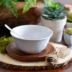 White Fancy Scroll Bowl