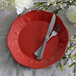 Red Fancy Scroll Dinner Plate