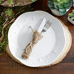 White Fancy Scroll Dinner Plate
