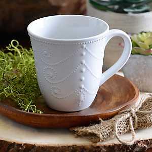 White Fancy Scroll Mug