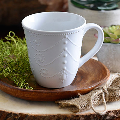 White Fancy Scroll Mug