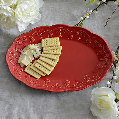 Red Fancy Scroll Oval Platter