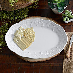 White Fancy Scroll Oval Platter
