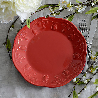 Red Fancy Scroll Salad Plate